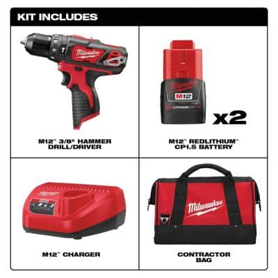 M12 12-Volt Lithium-Ion Cordless 3/8 in. Hammer Drill/Driver Kit with Two 1.5 Ah Batteries and Hard Case