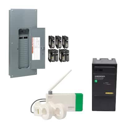 Homeline 200 Amp 30-Space 60-Circuit Indoor Main Breaker Qwik-Grip Plug-On Neutral Panel, Wiser Energy Monitor, Surge