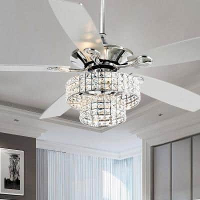 Howell 52 in. Indoor Chrome Downrod Mount Crystal Chandelier Ceiling Fan with Light and Remote Control