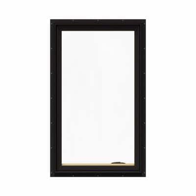 28.75 in. x 48.75 in. W-2500 Series Black Painted Clad Wood Right-Handed Casement Window with BetterVue Mesh Screen