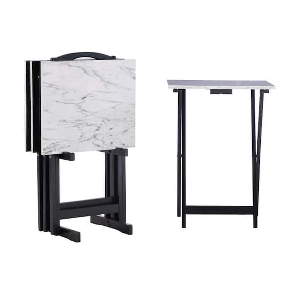 Linon Home Decor White Faux Marble Folding Tray Table 43001whtset 01 As The Depot