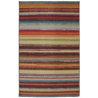 Avenue Stripe Multi 5 ft. x 8 ft. Indoor/Outdoor Printed Patio Area Rug