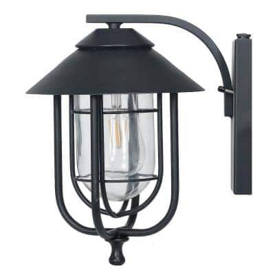 1-Light Black Integrated LED Outdoor Round Wall Sconce with Dusk to Dawn Sensor