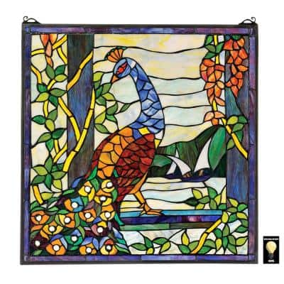 The Peacock's Garden Stained Glass Window Panel