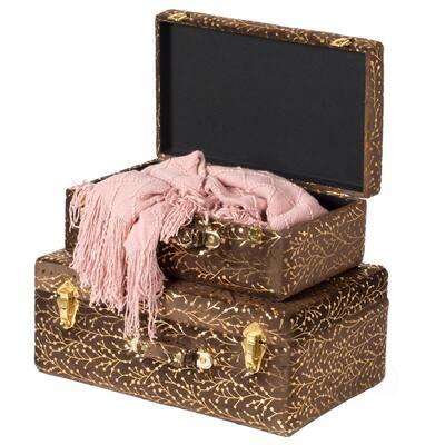 Decorative Brown Tufted Velvet Suitcase Treasure Chest (Set of 2)