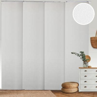 Movie Night Cut-to-Size White Blackout Adjustable Sliding Panel Track Blind with 23 in Slats Up to 86 in. W x 96 in. L