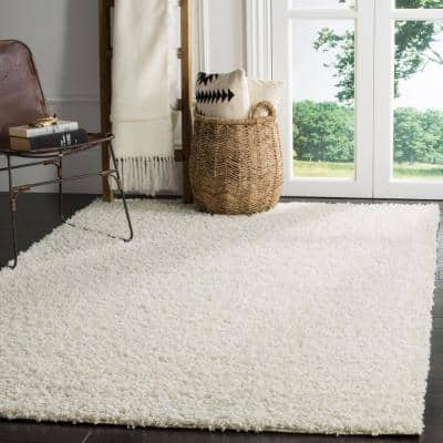 White Shag Area Rugs Rugs The Home Depot