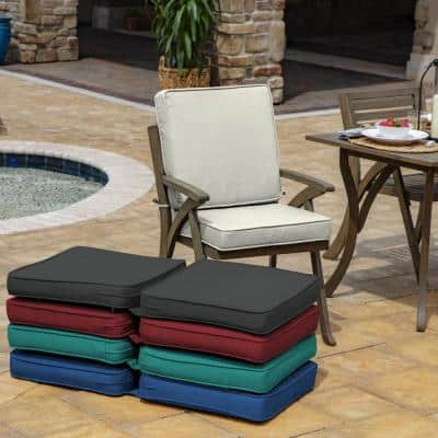 ProFoam 20 in. x 20 in. Sand Acrylic Outdoor High Back Chair Cushion