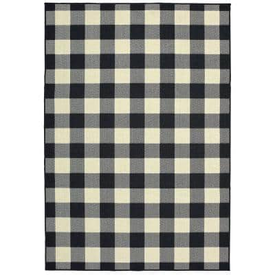Sienna Black/Ivory 8 ft. x 11 ft. Buffalo Check Indoor/Outdoor Area Rug