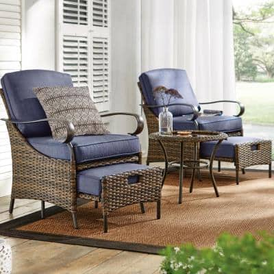 Layton Pointe 5-Piece Brown Wicker Outdoor Patio Conversation Seating Set with CushionGuard Sky Blue Cushions