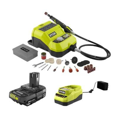 RYOBI ONE+ 18V Cordless Rotary Tool w/ 2.0 Ah Battery and Charger