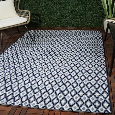 Fabien Dark Blue 8 ft. x 10 ft. Diamond Trellis Indoor/Outdoor Area Rug