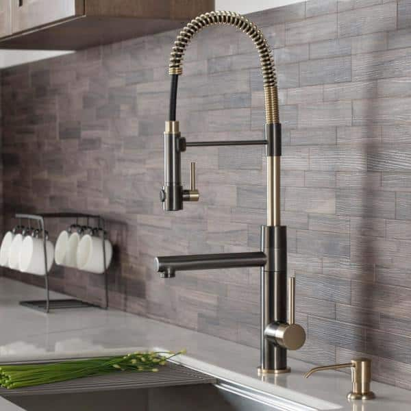 KRAUS Artec Pro 2-Function Commercial Style Pre-Rinse Kitchen Faucet with Pull-Down Spring Spout and Pot Filler, Black Stainless Steel/Brushed Gold Finish