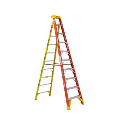 LEANSAFE 10 ft. Fiberglass Leaning Step Ladder with 300 lb. Load Capacity Type IA Duty Rating