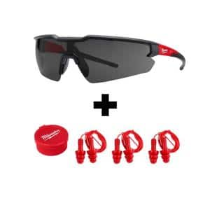 Safety Glasses with Tinted Lenses with Corded Red Earplugs (3-Pack)