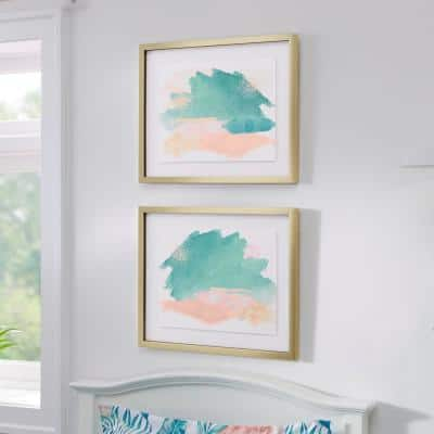 (17 in. H x 21 in. W) Pink, Blue, Green Abstract Watercolor Wall Art with Antiqued Gold Frame (Set of 2)