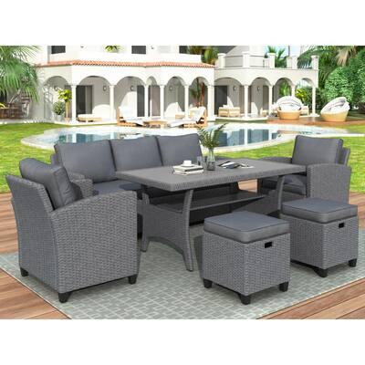 Binpal Gray 6-Piece Wicker Patio Conversation Set with Gray Cushions