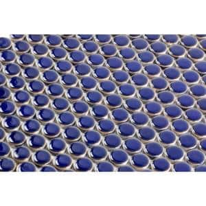 Bliss Edged Penny Round Midnight Blue 12 in. x 12 in. x 10 mm Polished Ceramic Mosaic Tile