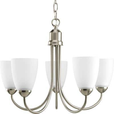 Gather Collection 5-Light Brushed Nickel Etched Glass Traditional Chandelier Light