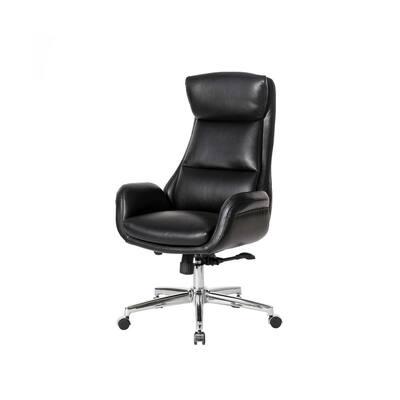 Mid-Century Modern Black Air Leatherette Adjustable Swivel High Back Office Chair