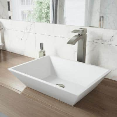 Matte Stone Vinca Composite Rectangular Vessel Bathroom Sink in White with Faucet and Pop-Up Drain in Brushed Nickel