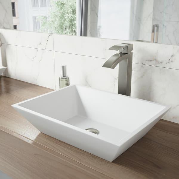 Vigo Matte Stone Vinca Composite, Rectangular Vessel Bathroom Sink