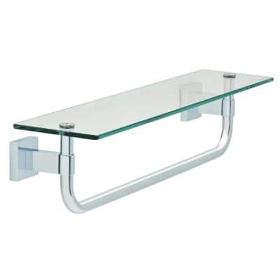 Maxted 18 in. W Glass Shelf with Towel Bar in Polished Chrome