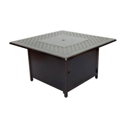 Heron 42 in. Outdoor Round Cast Aluminum Gas Fire Pit in Topaz Bronze with Clear Glass Fire Beads
