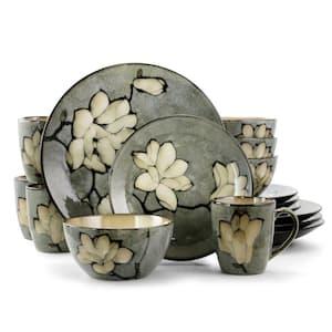 Dekari 16-Piece Glam Grey Stoneware Dinnerware Set (Service for 4)