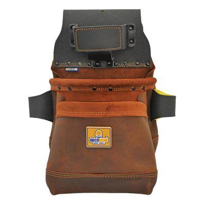 14 in. 2-Pocket Elite Series Leather Tool Pouch in Brown