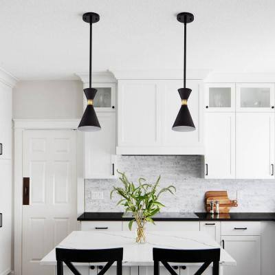 5.5 in. 1-Light Black Hanging Pendant Light with Brass Accents