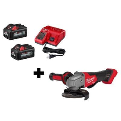 M18 FUEL GEN II 18-Volt Lithium-Ion Brushless Cordless 4-1/2 in. /5 in. Grinder with (2) 6.0 Ah Batteries and Charger