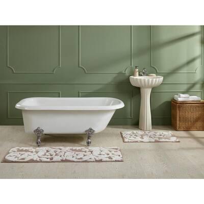 "Memory Foam Collection Beige 100% Cotton Medallion Pattern 18"" x 54"" Rectangle Bath Rug"