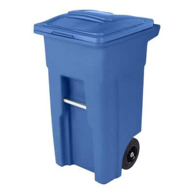 32 Gal. Blue Trash Can with Quiet Wheels and Attached Lid