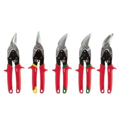 Left, Right, and Straight/Offset Aviation Snips Set (5-Piece)