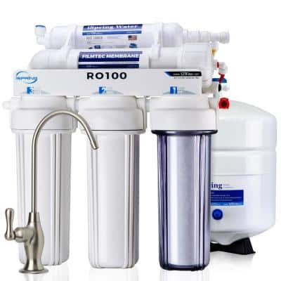 5-Stage 100 GPD Reverse Osmosis Drinking Water Filtration System 1:1 Pure to Waste Ratio, US Made Filters
