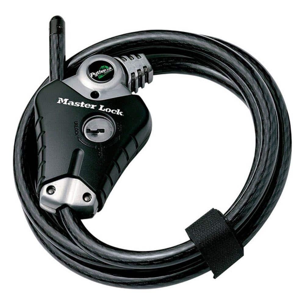 Master Lock 8 Ft Python Vinyl Coated Adjustable Locking Cable 8428kadpfccsen The Home Depot