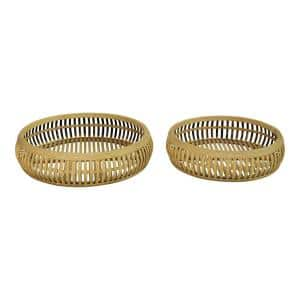Stratton Brown Home Decor Rattan Trays (Set of 2)