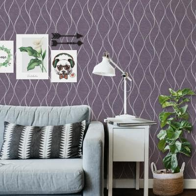 Wavy Light Texture Purple Vinyl Non-Woven Strippable Roll Wallpaper Covers 59.2 sq. ft.