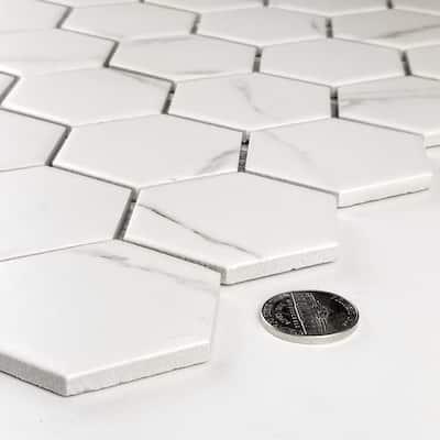 Monet Calacatta White Hexagon 11 in. x 13 in. Matte Porcelain Mosaic Tile (260 Sq. Ft./Case)