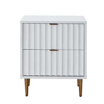 White Wavy Line Design 2-Drawer Chest of Drawers with Sturdy Metal Golden Legs