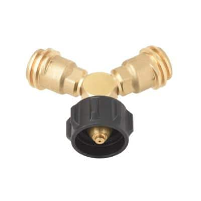 Propane Tank Y Splitter Adapter 2-Way LP Gas Adapter Tee Connector for 20 lb. Propane Cylinder