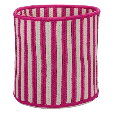 Magenta Vertical Stripe Round Basket