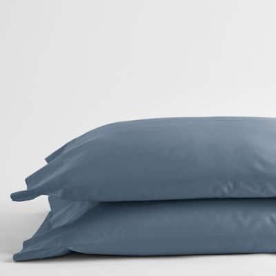 Legends Luxury Solid Mirage Blue 500-Thread Count Cotton Sateen Standard Pillowcase (Set of 2)