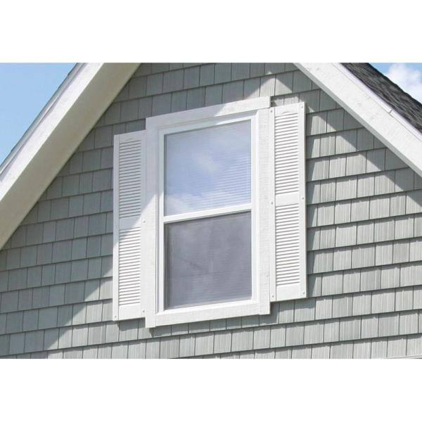 Builders Edge 15 In X 52 In Louvered Vinyl Exterior Shutters Pair In 008 Clay 010140052008 The Home Depot