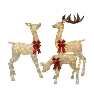 Set of 3 Deer Family with Warm White LED Lights