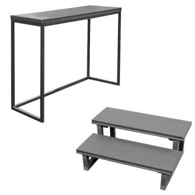 16.5 in. x 36 in. x 35.5 in. Spa Bar and 2 Tier Spa Steps in Mist