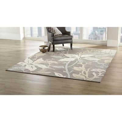 Blooming Flowers Gray 2 ft. x 7 ft. Runner Rug