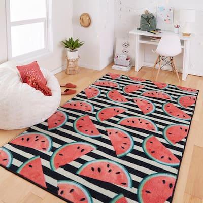 Watermelon Stripe Black 5 ft. x 8 ft. Theme Area Rug