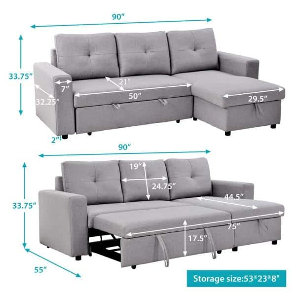 Magic Home 90 In Reversible Pull Out, What Are The Dimensions Of A Full Size Sleeper Sofa
